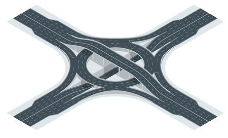 Isometric highway junction road and interchange overpass. Vector illustration Stock Photo
