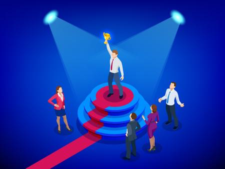 Concept d'entreprise et de réalisation de gagnant isométrique. La réussite des entreprises. Grand trophée pour les hommes d'affaires