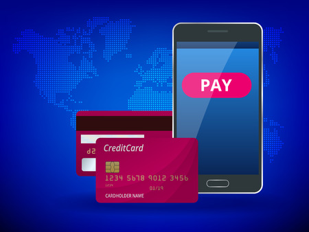 Online mobile payment, payment by card, personal data protection, e-commerce concept. The header for website with a smartphone and Bank card on blue background