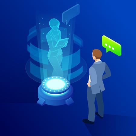 El hombre isométrico se comunica con un holograma de pantalla futurista abstracto. Conferencia de negocios. El concepto de red, comunicación, negocios, tecnología, realidad aumentada. Ilustración de vector
