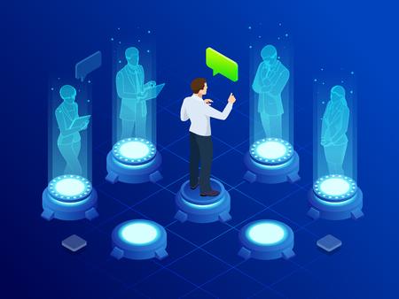 El hombre isométrico se comunica con hologramas de pantalla futuristas abstractos. Conferencia de negocios. El concepto de red, comunicación, negocios, tecnología, realidad aumentada.