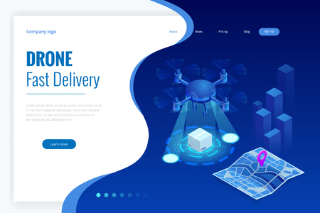 Isometric Drone Fast Delivery of goods in the city. Technological shipment innovation concept. Autonomous logistics Template for presentation, report design, website
