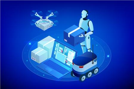 Dron izometryczny Szybka dostawa towarów w mieście. Koncepcja innowacji technologicznych transportu. Autonomiczna logistyka. Koncepcja sieci web dostawy robota.