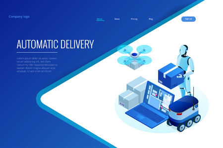 Isometric Drone Fast Delivery of goods in the city. Technological shipment innovation concept. Autonomous logistics. Robot delivery web concept.