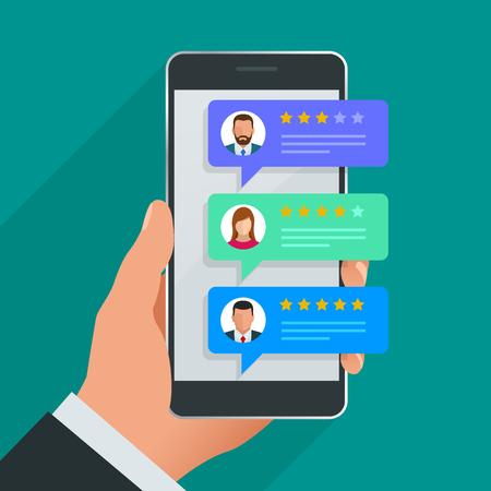 Recensioni dei clienti. Rivedere la valutazione sul telefono cellulare, illustrazione vettoriale di feedback. Leggere la recensione del cliente in uno smartphone prima di acquistare i prodotti Vettoriali