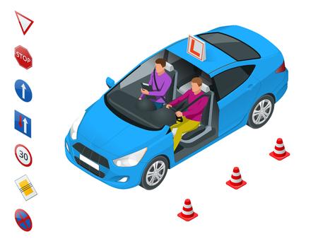 Concetto di design scuola guida o imparare a guidare. Illustrazione isometrica di vettore piatto.
