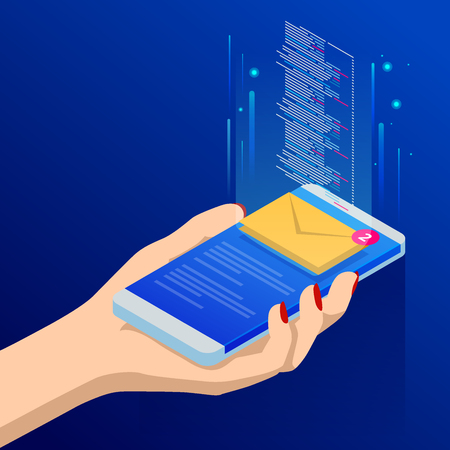 Isometric email or sms app on a smartphone screen. New message is received. Female fingers touching smartphone with mail icon on it. Vector illustration.