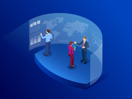 Isometric people in front of the screen for data analysis business. Information Communication Technology. Digital transformation. Technology Future. Vector illustration. Illustration