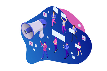 Isometric crowd of people protesters. Male and female protesters or activists. Holding banners and placards. Men and women taking part in political meeting, parade or rally. Vector illustration. Illustration