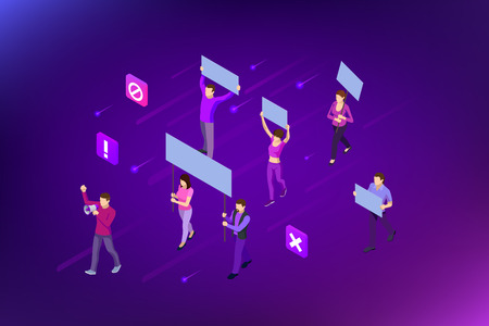 Isometric crowd of people protesters. Male and female protesters or activists. Holding banners and placards. Men and women taking part in political meeting, parade or rally. Vector illustration. Ilustrace