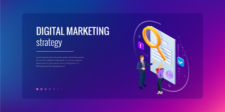 Isometric digital marketing strategy concept. Online business, internet marketing idea, office and finance objects, search engine optimisation, SEO, SMM, advertising. Vector illustration.