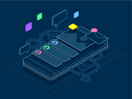 Isometric phone with gears, cogs and repair concept of line. Mobile services banner vector illustration