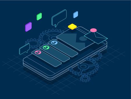 Isometrische telefoon met versnellingen, tandwielen en reparatieconcept lijn. Mobiele diensten banner vectorillustratie