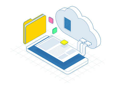 Isometric mobile cloud, cloud storage or data transfers on Internet concept. Enterprise Resource Planning app on smartphone screen connecting data with cloud computing. Line vector illustration Ilustrace