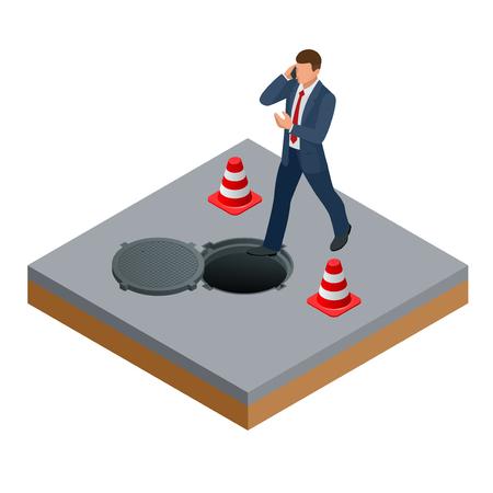 Homme isométrique parlant au téléphone et entre dans le concept de trappe ouverte. L'homme dans le trou d'homme ouvert et la réparation des routes.