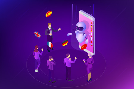 Isometric online voice translator and learning languages concept.