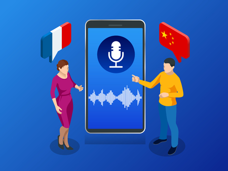 Online voice translator and learning languages concept. Banque d'images