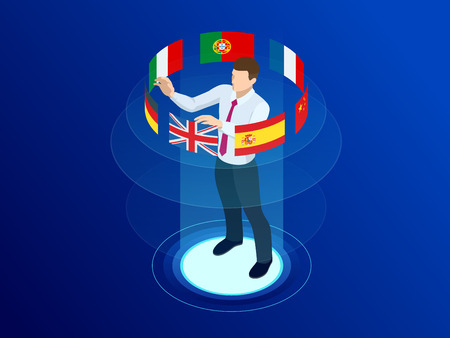 Isometric foreign language online dictionaries, multilingual audio guide, web translation, online translation agency, language selection, interpretation services vector illustration