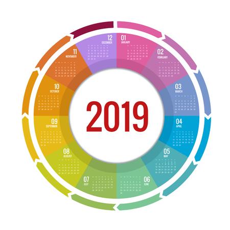 Diseño colorido calendario redondo 2019