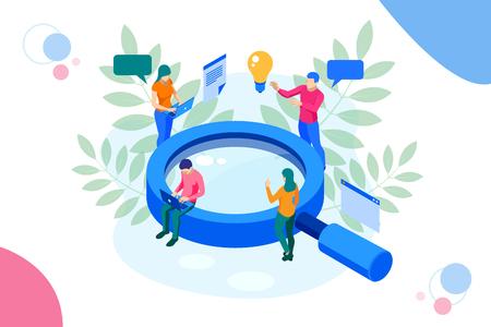 Koncepcja banera internetowego izometrycznej strategii marketingu cyfrowego. Ilustracje wektorowe
