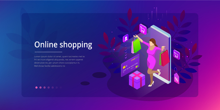 Landing page template of shopping online concept. E-commerce website shop by smartphone.
