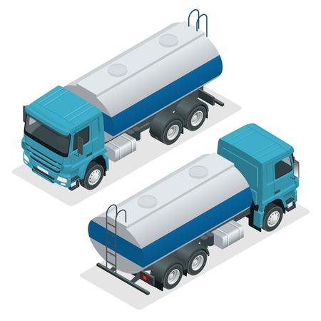 Vector de camión cisterna isométrica. Petrolero, camión de gasolina, cisterna blanca, remolque de aceite aislado sobre fondo blanco. Ilustración de vector