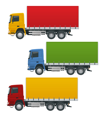 Flat trucks set isolated realistic vehicles on white background. Truck logistics, delivery side view.