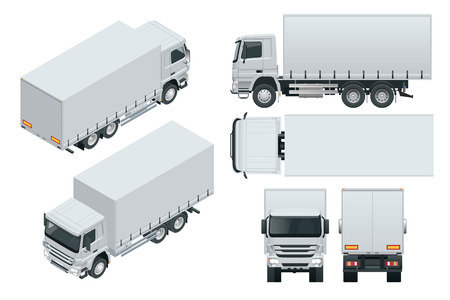 Truck delivery, lorry mock-up isolated template on white