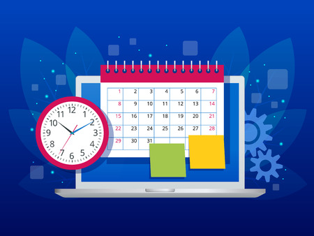 Planification hebdomadaire à plat et gestion de l'organisation du planificateur de calendrier. Application en ligne sur le workflow d'entreprise sur ordinateur portable, la gestion du temps, la planification, l'application de tâches, le travail d'équipe et la réunion. Vecteurs