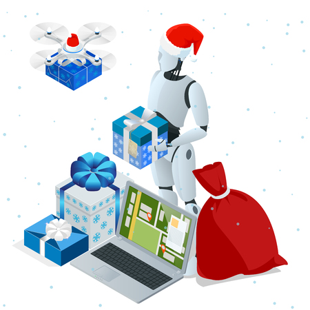 Isometric Christmas robot, Santa Drone Fast Delivery of goods in the city. Technological shipment innovation concept. Autonomous logistics