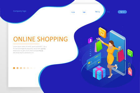 Landing page template of shopping online concept.