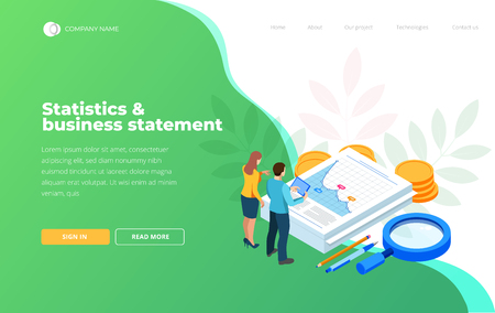 Isometric Analysis data and Investment. Stack of documents with an official stamp and pencils in a glass. Creative landing page design template. Illustration