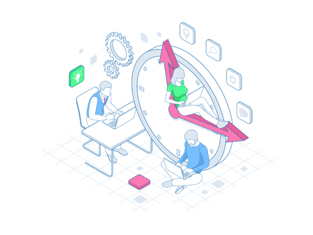 Isometric Effective time management in outline concept. Time management, planning, and organization of working time. Stok Fotoğraf