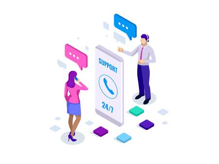 Isometrische gebruikersondersteuningsservice of callcenter. Klantenservice banner vectorillustratie Vector Illustratie