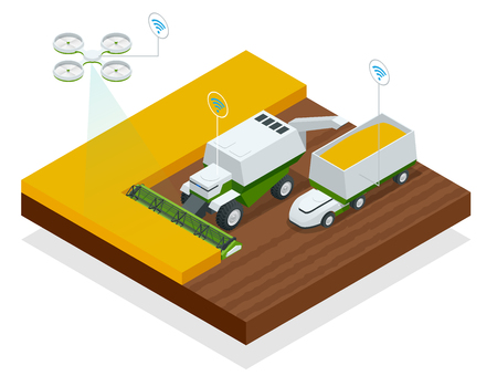 Isometric modern smart robots in agriculture, smart industry robot 4.0 combined harvester-thresher in the field.