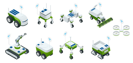 Isometric set of iot smart industry robot 4.0, robots in agriculture, farming robot, robot greenhouse.