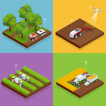 Isometric agriculture automatic guided robots harvest fruit from trees and harvest berries Illustration