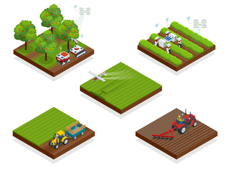 Isometric agriculture automatic guided robots harvest fruit from trees and harvest berries