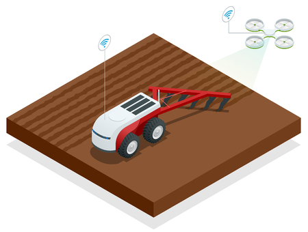 Isometric planting potatoes with a farming robot and specialist equipment.