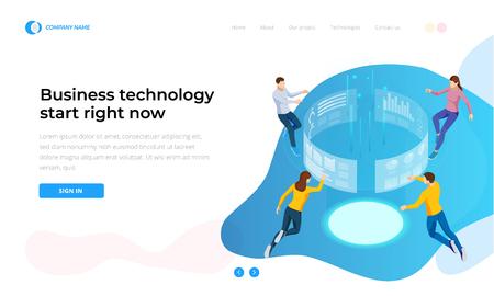 La tecnología empresarial comienza ahora mismo. Gestión de procesos de análisis de datos comerciales isométricos o panel de inteligencia en la pantalla virtual. Plantilla para sitio web, página de destino