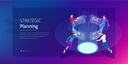 Strategic business planning. Isometric Business Data Analytics process management or intelligence dashboard on the virtual screen. Template for website, landing page