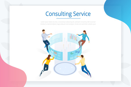 Consulting Service. Isometric Business Data Analytics process management or intelligence dashboard on the virtual screen. Template for website, landing page.