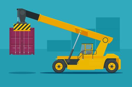Chariot porte-conteneurs mobile en action dans un terminal à conteneurs. La grue soulève le gestionnaire de conteneurs Illustration vectorielle isolée. Vecteurs