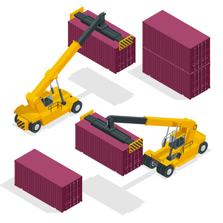 Izometryczny Mobile Container Handler w akcji na terminalu kontenerowym. Dźwig podnosi wózek do obsługi kontenerów Ilustracja na białym tle wektor.