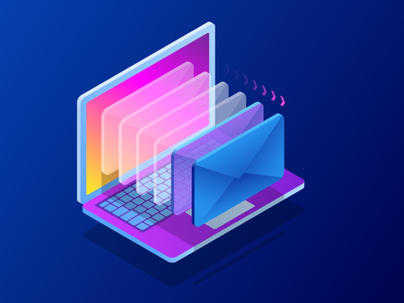 Isometric modern e-mail, email marketing, internet advertising concepts. Vector illustration.
