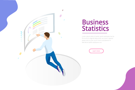 Financial business administration, business charts, and finance visualization in front of the screen for data analysis. Isometric vector illustration for the landing page template.