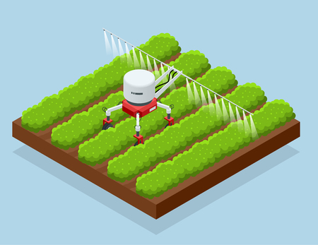 Isometric irrigational smart robotic system on the field. Automated agriculture, technology. Robot farmers programmed to work to spray chemical or water.