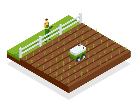 Isometric automation smart farming on the field. Artificial intelligence robots in agricultural. Organic food, agriculture concept Vektorové ilustrace