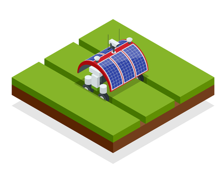Agricultura inteligente de automatización isométrica en el campo. Robots de inteligencia artificial en agricultura. Alimentos orgánicos, concepto de agricultura Ilustración de vector
