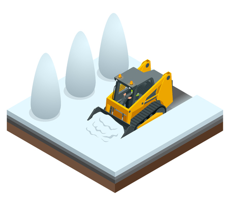 Isometric Compact Excavators. Orange Steer Loader isolated on a white
